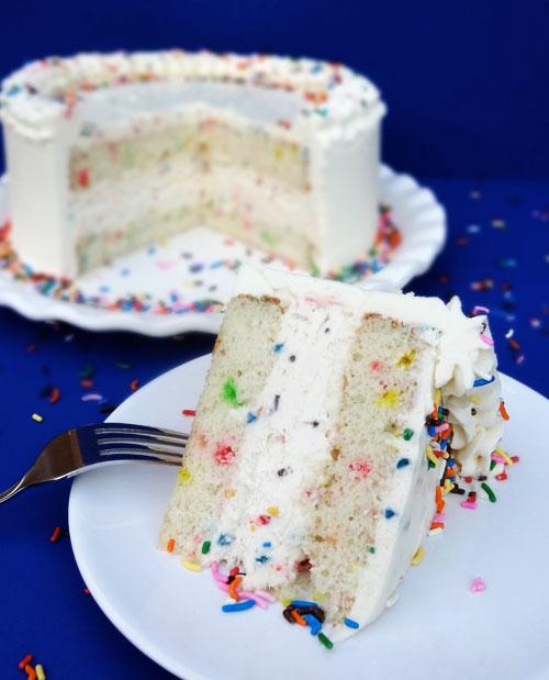 Funfetti Cake Batter Ice Cream Cake With Rainbow Chip Icing