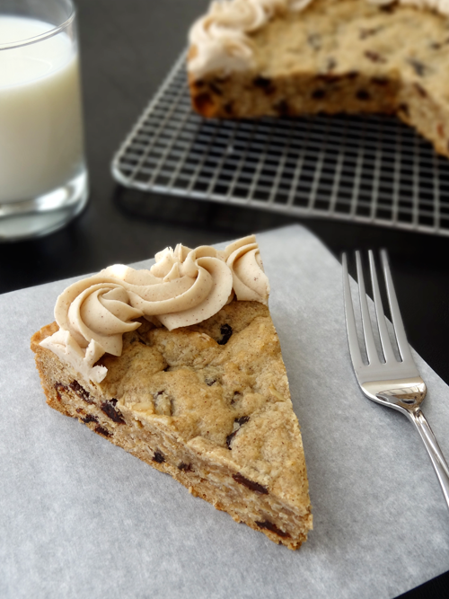 Thick and Chewy Oatmeal Raisin Cookie Cake! With Cinnamon Maple Icing!