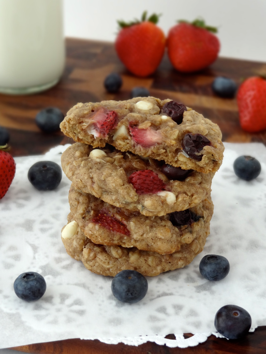 Strawberry and Blueberry White Chocolate Oatmeal Cookies