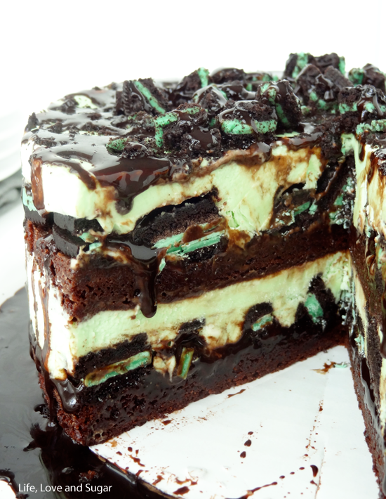 Mint Oreo Brownie Ice Cream Cake