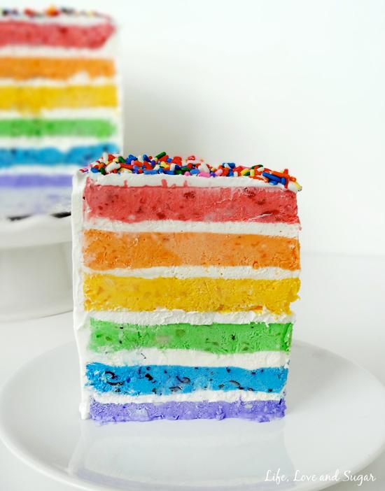 Rainbow Ice Cream Cake with Real Fruit